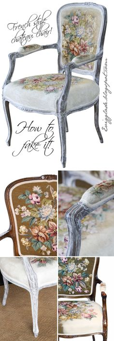 How to paint a french chateux chair that looks ooooold, with charming embroidery Se more at my blog: evigglade.blogspot.com