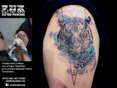 Tatuaje estilo collage  con un tigre. Realizado en la primera Sabadell Tattoo Convention.