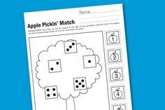 Apple Pickin' Preschool & Kindergarten Math Worksheet  | paging supermom