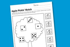 Apple Pickin' Preschool Math Worksheet