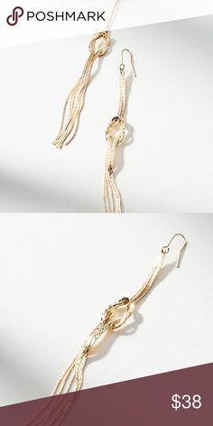 """Anthropologie Sailor's Knot Drop Earring NWT Brand new with tag on! LOVE this one, my favorite! Love the concept of """"sailor's knot"""": according to popular lore, sailors gave their sweethearts jewelry featuring this specific knot as a way to show off their skills. Here, it adds a unique twist to the classical drop earrings. Pictures don't do justice to this beauty! It is shiny, cute, soft, flowy and moves with your move! Dangling around--just love it. unfortunately i don't have pierced ears…"""