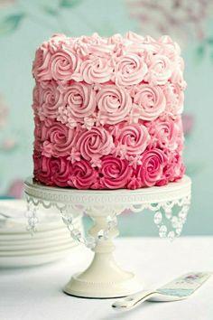 Birthday cake girl deco birthday kids birthday cake 1 year 2 … - Quick and Easy Recipes Cupcakes, Cupcake Cakes, Easy Birthday Cake Recipes, Pink Ombre Cake, Girly Cakes, Birthday Cake Girls, Birthday Kids, Rose Cake, Food Cakes