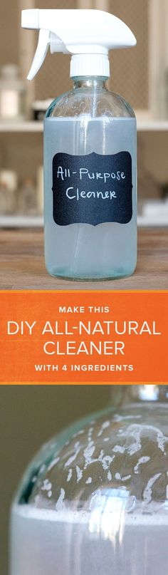 All it takes are 4 ingredients and 30 seconds of your time to make your own DIY all-purpose natural cleaner.