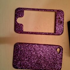 DIY glitter phone case. Cover with modge podge after glittering