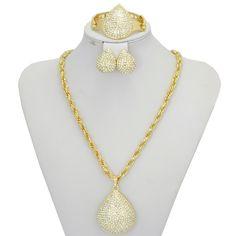2016 New Gold Plated Pendant Jewelry Crystal Fashion Dubai Costume Big Jewelry Set  Nigerian Wedding African Beads Jewelry Set
