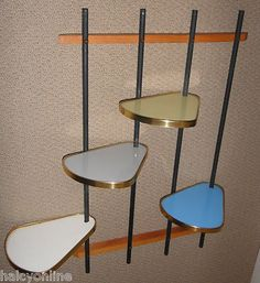 Vtg. 1950s ADJUSTABLE Atomic WALL SHELF Mid-Century MODERN EAMES ERA (different... could work w/ this for sure)