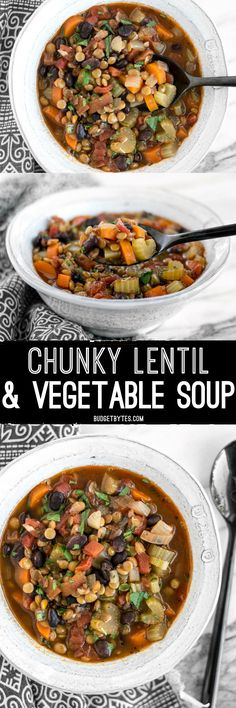 This easy Chunky Lentil and Vegetable Soup is packed with color, flavor, texture, and good-for-you vegetables! (Soup Recipes For Crockpot) Cooked Vegetable Recipes, Vegetable Korma Recipe, Spiral Vegetable Recipes, Vegetable Samosa, Lentil Vegetable Soup, Vegetable Casserole, Lentil Soup, Chunky Vegetable Soup, Lentil Dishes