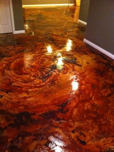 acid stain concrete I just love this.My daddy can do this for me in my new house! Basement Flooring, Basement Remodeling, Flooring Ideas, Floor Stain, Stain Concrete, Acid Stained Concrete Floors, Cement Floors, Plywood Floors, Painting Concrete