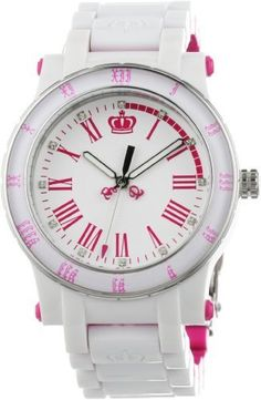 Juicy Couture Women's 1900750 HRH White and Pink Plastic Bracelet Watch Juicy Couture. $179.95. Durable mineral crystal protects watch from scratches. Quartz movement. Water-resistant to 99 feet (30 M). Case diameter: 38 mm. Plastic case with stainless steel accents