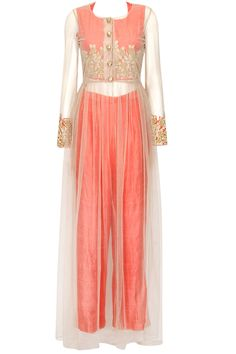 Soft pink rose embroidered cape with with pink crop top and pants available only at Pernia's Pop Up Shop..#perniaspopupshop #shopnow #newcollection #bridal #festive #wedding #bhumikasharma #clothing#happyshopping
