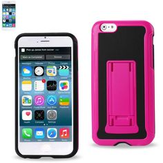Reiko Horizontal And Vertical Kickstand Case Iphone 6/6S Plus 5.5Inch Lack Hot Pink