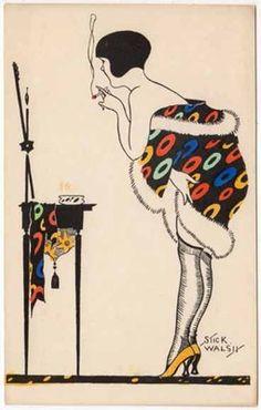 Stick Walsh Artwork Postcard Art Deco Woman Smoking at her Vanity   eBay