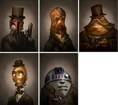 Victorian Star wars Portraits! Great site for boys room / home theatre art