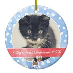 Kitty's First Christmas Rudolph Double-Sided Ceramic Round Christmas Ornament