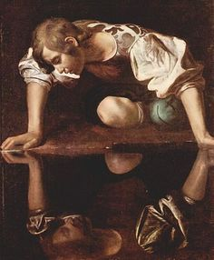 Narcissus (mythology) Falling in love with his own reflection.