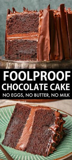 Vegan Dessert Recipes, Easy Cake Recipes, Baking Recipes, Foolproof Cake Recipe, Best Vegan Chocolate, Chocolate Cake Recipe Easy, Easy Vegan Chocolate Cake, No Egg Chocolate Cake, Chocolate Desserts