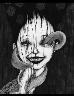 Suehiro Maruo (original picture) The dark black colouring of this with the slight horror sspect in regards to this. Ill get what i mean Japanese Horror, Japanese Art, Arte Horror, Horror Art, Manga Gore, Dibujos Dark, Scary Drawings, Ero Guro, Bizarre