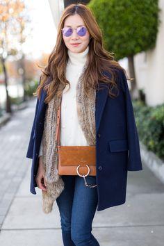 Outfit Ideas, Style Inspiration, Winter Fashion, Fur Vest, Chloé Faye Bag