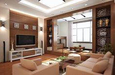 feng shui couleurs, plafond blanc suspendu, mur en bois, canapé couleur pastel