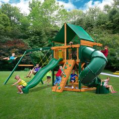 Found it at Wayfair - Mountainer Swing Set with Green Vinyl Canopy