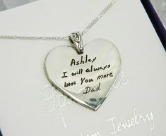 In memory of Dad Heart Pendant Handwriting Jewelry in Sterling Silver Best Friend Gifts, Gifts For Friends, In Memory Of Dad, Small Words, Small Heart, Jewelry Gifts, Jewelry Ideas, Handwriting, Heart Shapes