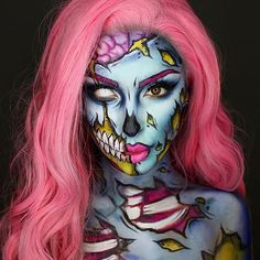 Accessories: DIY Pop Art Zombie Halloween Costume Make Up Idea - Pastel Pop art Zombie Beautiful wig is from heahair Using nyxcosmetics crmes and eyeshadow palette, and mehronmakeup Paradise Paints! Halloween Zombie Makeup, Art Halloween, Amazing Halloween Makeup, Pretty Halloween, Costume Halloween, Pretty Zombie Makeup, Zombie Bride Makeup, Costume Zombie, Halloween Drinks