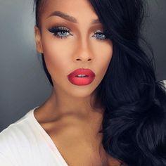 Sonjdra Deluxe Black Beauty Blue Eyes Red Ombre Lip Makeup MUA Flawless