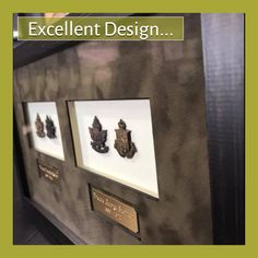 An excellent frame design by Joni Ward. Joni incorporated spacers behind the mat to accommodate the thick medals. This technique can be used on many dimensional items. The floating engraved brass plates 👍