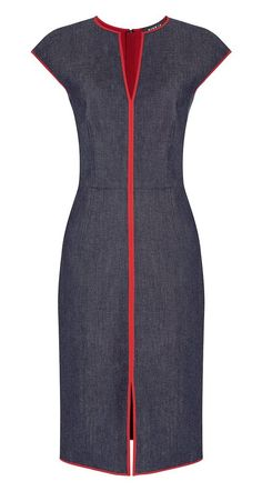 Red, white black fabric with zip front and black trim Simple Dresses, Cute Dresses, Casual Dresses, Dresses For Work, Office Dresses, Work Fashion, Denim Fashion, Fashion Outfits, Cheap Fashion