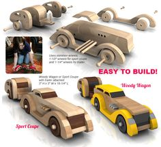 Buy the 1935 Ciccarelli Custom Duo Woody Wagon and Sport Coupe plus Teardrop Trailer toy plan sets for One Low Price!