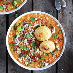 Buffalo Chicken Corn Chowder with Blue Cheese Gougères! The best corn chowder ever!