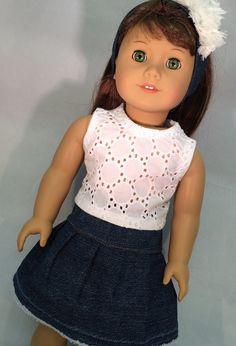 Created for American girl doll, 18 inch dolls, Jean skirt, crop top, headband…