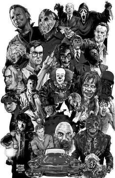 Horror Icons The Artwork of Nathan Thomas Milliner Horror Movie Poster Fan Art Horror Movie Characters, Horror Movie Posters, Horror Movies, Horror Villains, Comedy Movies, Arte Horror, Horror Artwork, Culture Pop, Horror Monsters