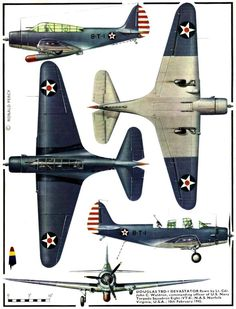 Douglas Devastator ' American torpedo bomber of the United States Navy, 1942 Navy Aircraft, Ww2 Aircraft, Military Aircraft, Airplane Drawing, Airplane Art, Air Fighter, Fighter Jets, Douglas Aircraft, Aircraft Painting