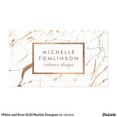 White And Rose Gold Marble Customizable Business Card For Interior Designers More