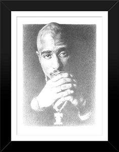 "Framed - Tupac Shakur Portrait Original Sketch Print, Highly-Detailed, Handmade Drawing By Artist Mike Duran. Art Size 18"" X 24""    http://citymoonart.com/tupac-shakur-live-original-sketch-prints-poster-size-black-white-print-of-highly-detailed-handmade-drawing-by-artist-mike-duran/"