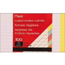"Walmart: Index Cards, 3"" x 5"" 100pk, Ruled Assorted Colors"