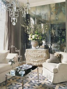 christainmiami: From Veranda. Table by Barbara Barry for Baker. Wallpaper and chair fabric by Kelly ...