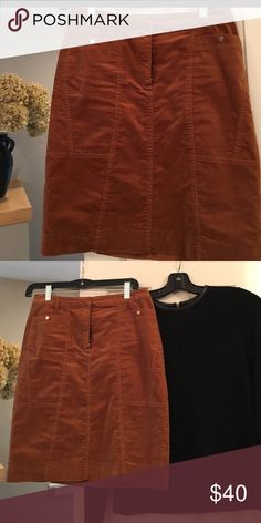 Corduroy Pencil Skirt Perfect shade for this winter! A rusty brown color with gold button details. Belt loops so you can accent it with your favorite belt. Looks great with boots and chunky sweater or a button down and long necklace. Worn maybe twice. Excellent condition size 2. Etcetera Skirts Pencil