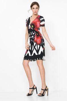 Cross-over neck dress   Desigual.com B