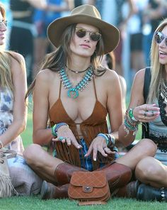 Alessandra Ambrosio relaxes at the Coachella Valley Music and Arts Festival in Indio, Calif., on April 11, 2015.