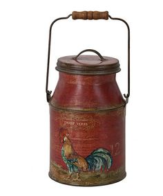 Take a look at this Red French Rooster Milk Can by Designs Combined Inc. on #zulily today!  Use my link to join:    http://www.zulily.com/invite/msoda804