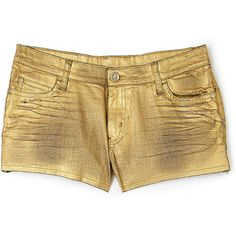Faith Connexion Cut-off Denim Gold Shorts ($241) ❤ liked on Polyvore