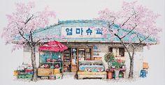 Les-dessins-de-boutiques-a-l-encre-acrylique-de-Me-Kyeoung-Lee-1