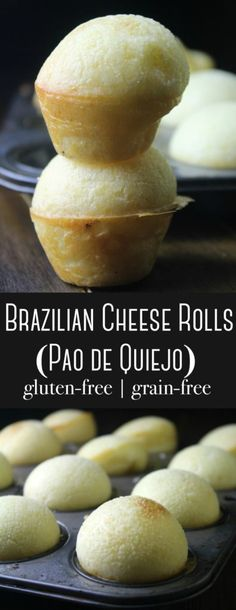 Brazilian Cheese Puffs (also known as Pao de Quiejo) are beautiful cheesy gems that are gluten-free grain-free and easy to make with simple ingredients! - May 11 2019 at Gluten Free Baking, Gluten Free Recipes, Keto Recipes, Cooking Recipes, Celiac Recipes, Gluten Free Puff Pastry, Gluten Free Appetizers, Gluten Free Grains, Easy Recipes