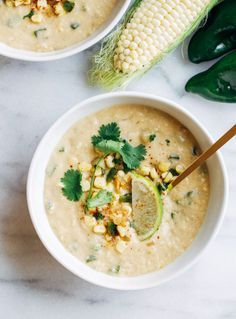 Vegan Roasted Poblano Corn Chowder- a comforting and creamy soup made from fresh corn, roasted poblanos and coconut milk. You'd never guess it's dairy-free!