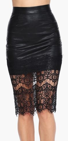 Faux Leather Mermaid Bodycon Midi Skirt in Black | Necessary ...