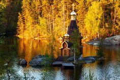 Tiny Church on a Lake Island in Russia