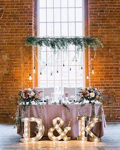 rustic greenery sweetheart table for indoor wedding
