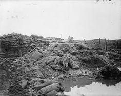 "WWI, Jan 1917; ""Minenwerfer hole"" behind parados of a front line trench, occupied by Lancashire Fusiliers, opposite Messines, near Ploegsteert Wood. ©IWM"